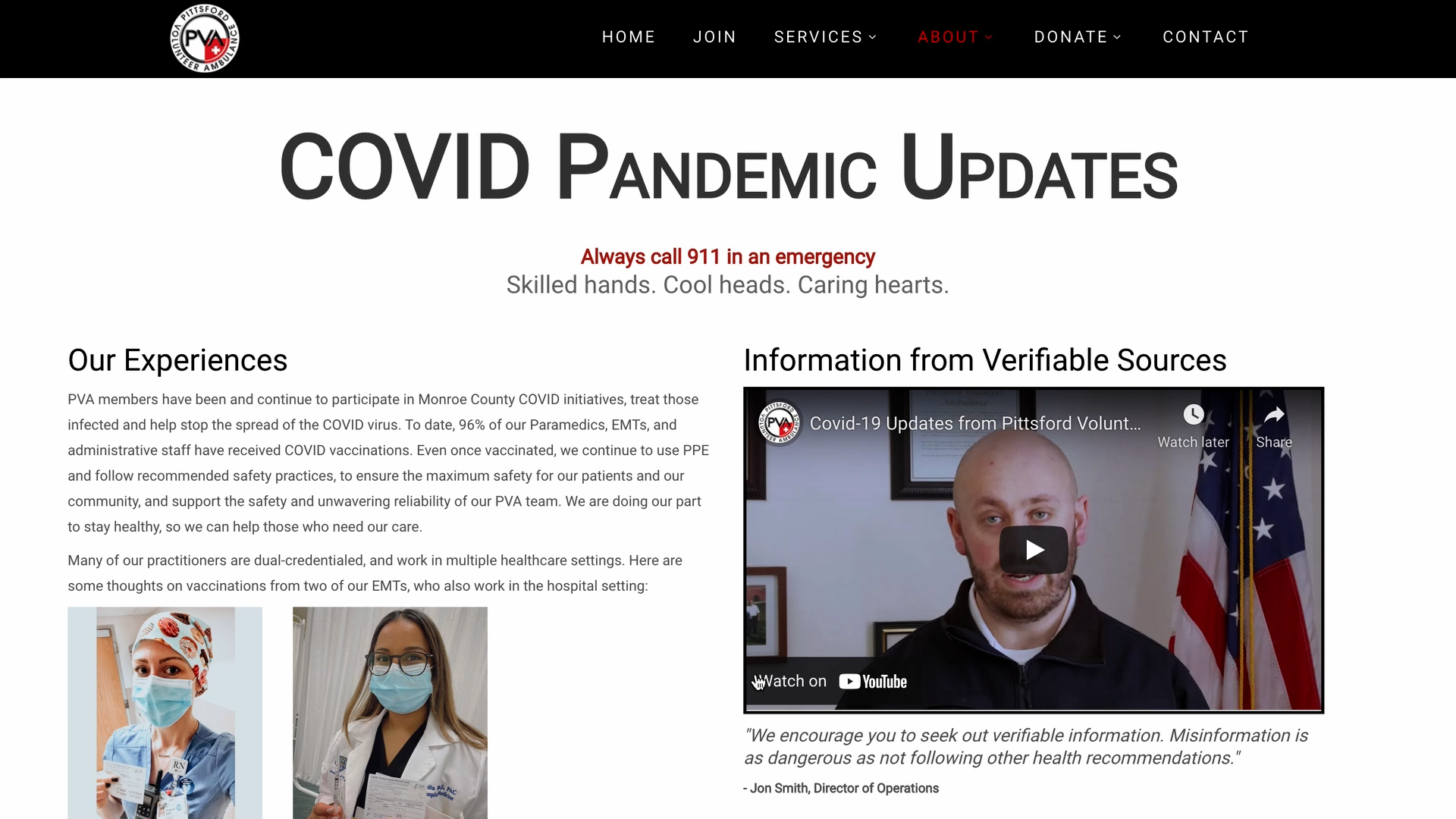 Verifiable Resources: COVID Pandemic Updates on PVA Website